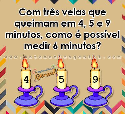 Desafio: Com três velas que queimam em 4, 5 e 9 minutos, como é possível medir 6 minutos?