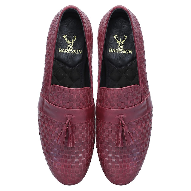 BURGUNDY  WINE TWO-TONE FULL WEAVED     LEATHER WITH STYLISH TASSEL SLIP-ON SHOES BY BARESKIN