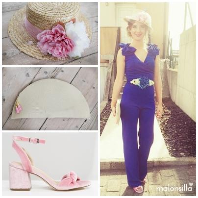 Canotier Fresneda de copa media, con bolso abanico de rafia color natural y borlas rosa, sandalias terciopelo Rosa de Asos.