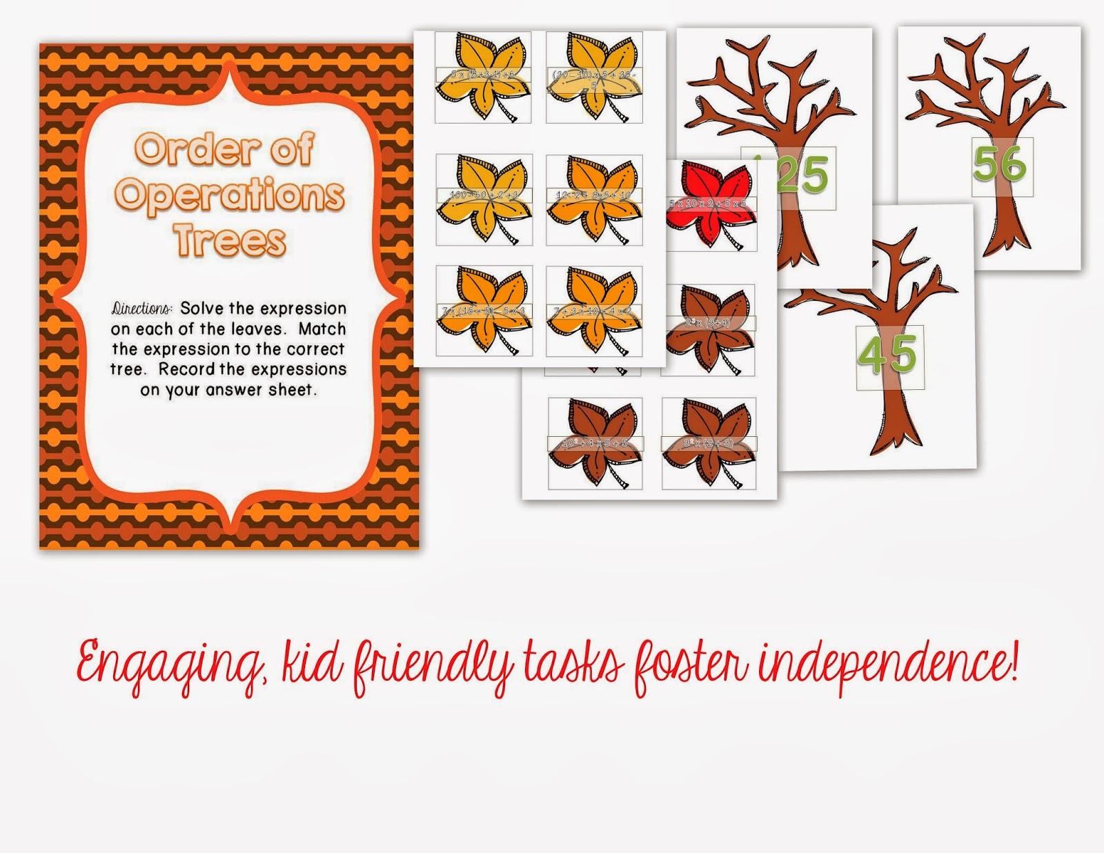 Misskinbk A Fifth Grade Blog Fall Math Centers Freebie