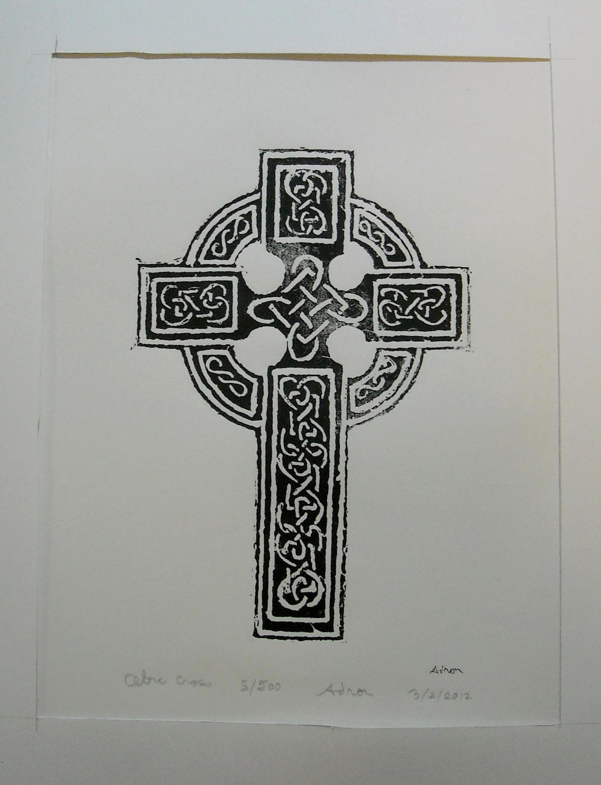 artist adron celtic cross hand made 14x11 print by adron