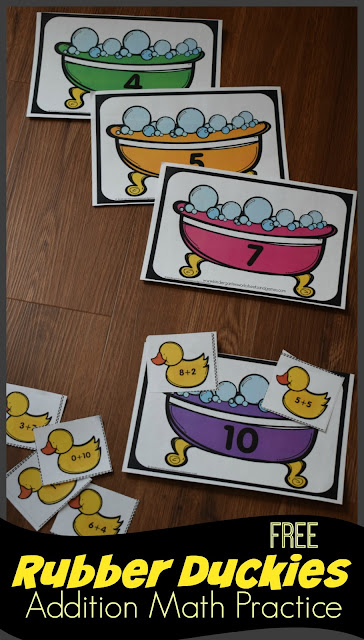 FREE Rubber Duckies Addition Math Practice - this is such a fun free printable activity for kindergarten and first grade kids to practice addition to 10 and make 10. This is great for summer learning, math center, and educational learning activity #addition #mathgames #freemathgamse #mathactivity #freeworksheets #kindergarten #firstgrade #kindergartenworksheetsandgames