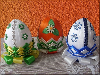 Beautifully Decorated Easter Eggs with Ribbon, Tiny Appliques