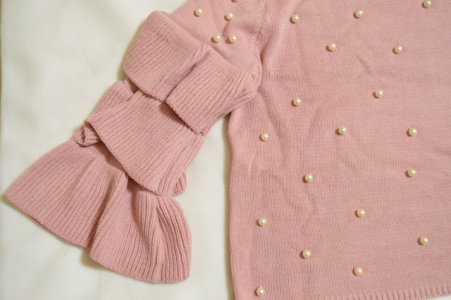 Zaful Pink Sweater with Pearl Embellishments Sleeve detail