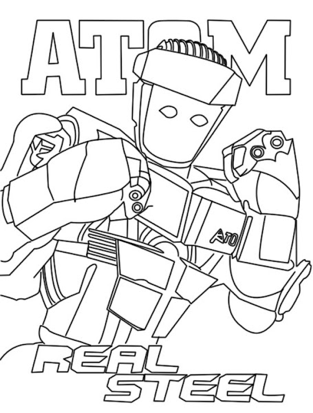 robots movie coloring pages - real steel coloring pages atom
