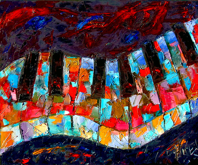 artists of contemporary paintings and abstract piano painting keyboard paintings