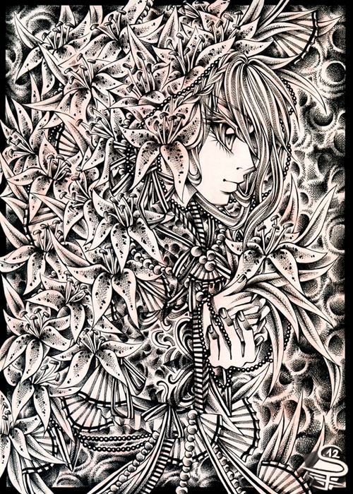 14-Royal-Lilies-Sandra-Filipova-DarkSena-Manga-Black-and-White-and-Colour-Detailed-Drawings-www-designstack-co
