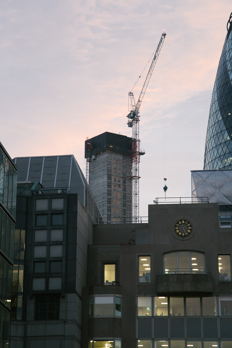 London Skyline sunset crane construction city