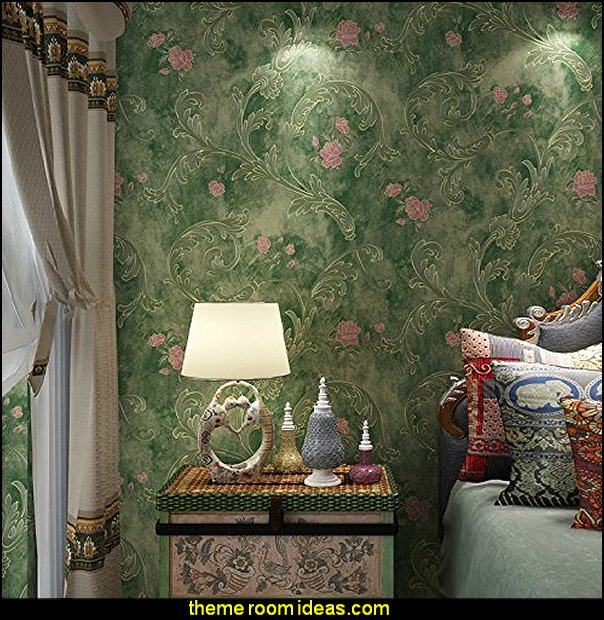 DLM2-Non Woven Vintage Green Pink Flower Wallpaper for bedroom WallPaper walls