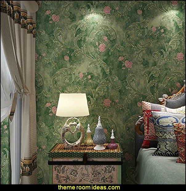 DLM2-Non Woven Vintage Green Pink Flower Wallpaper for bedroom WallPaper walls