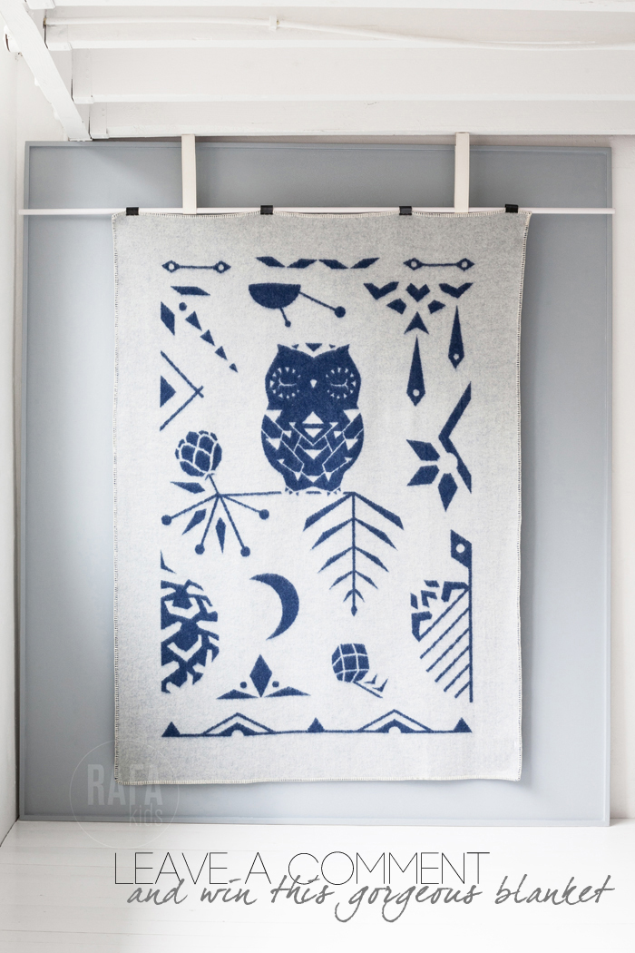 Rafa-kids Giveaway wool blanket Owl on the Moon