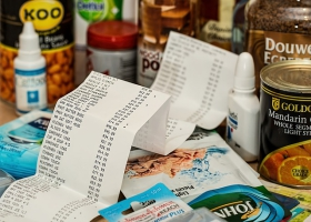 Picture of food items and supermarket receipt.