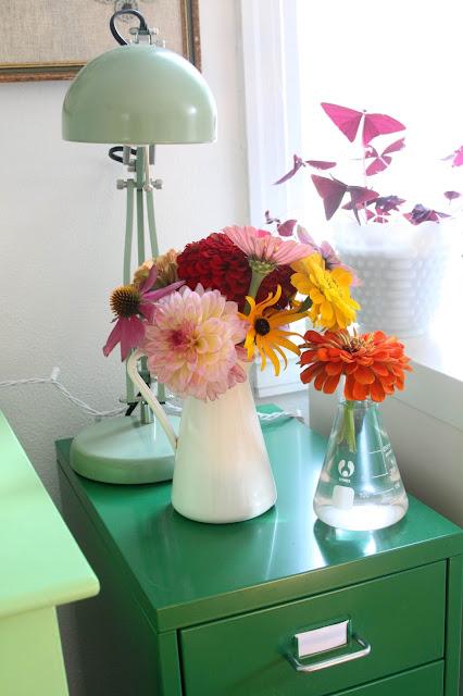 summer flowers, flower arrangements, garden flowers, artist work space, studio, Anne Butera, My Giant Strawberry