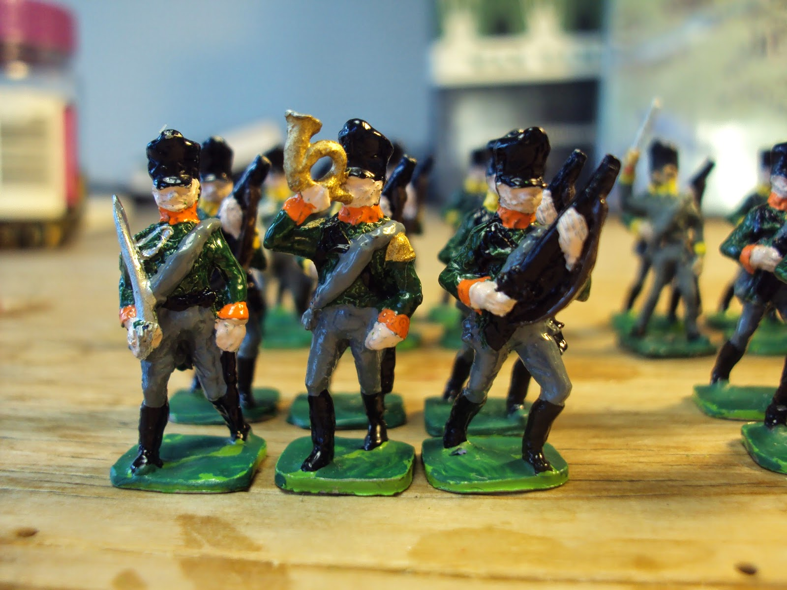 Hinton Hunt PN 24: Prussian Jaeger Officer Marching; PN 25: Prussian Jaeger Bugler Marching