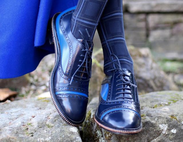 Fake Fabulous | Cobalt, red and sky bluePatent brogues & tartan tights.