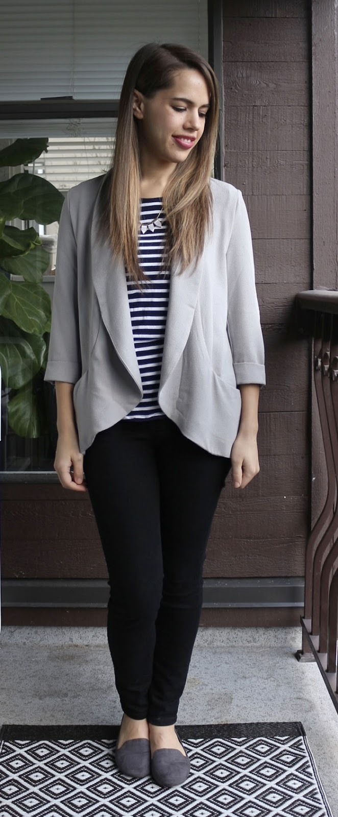 Jules in Flats - Forever 21 Blazer and H&M Striped Tee