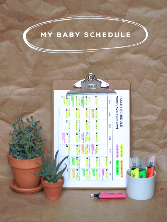 My Baby Schedule (+ a Printable Calendar)