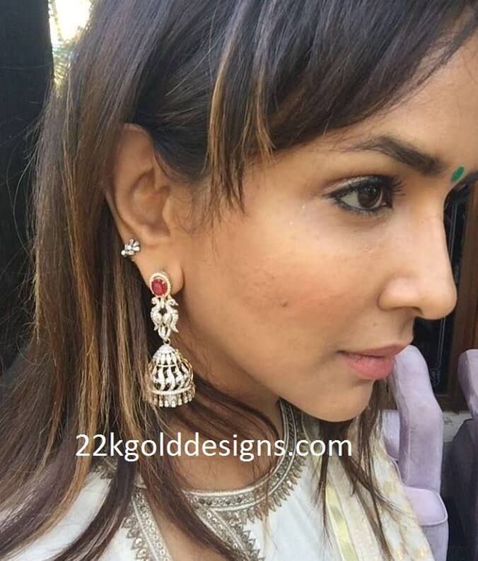 Lakshmi Manchu in Diamond Jhumkas