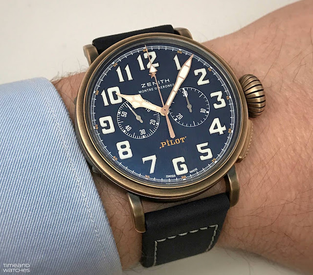 Wristshot of the Zenith Pilot Type 20 Extra Special Chronograph with bronze case and blue dial (ref. 29.2430.4069/57.C808)