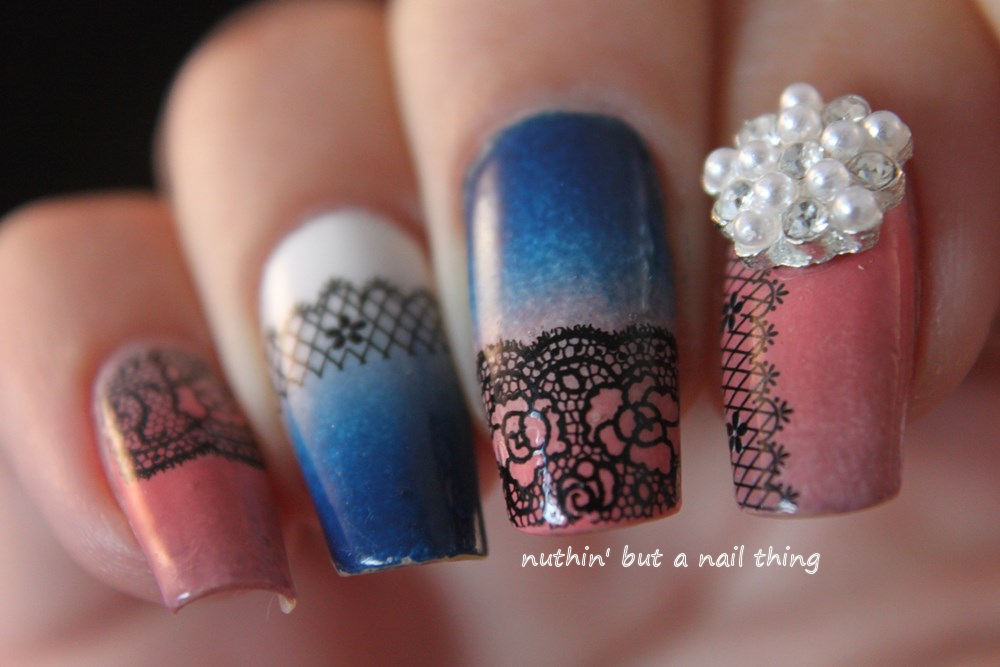 Lace gradient nail art
