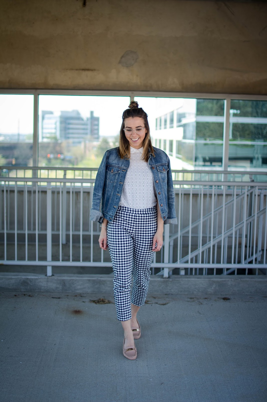 jean-jacket-spring-style-gingham-pants-victoria-beckham-target-eyelet-coach-loafers