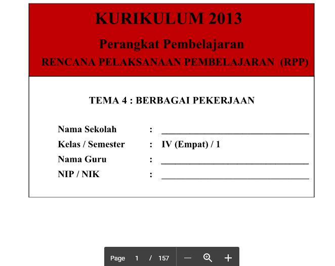 RPP Kurikulum 2013 SD Kelas 4 Tema 4 Berbagai Pekerjaan Edisi Revisi 2016 Terbaru