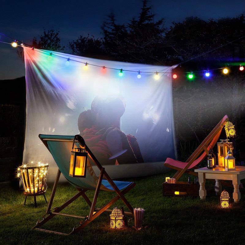 farolillos luz led, tumbona y sábana jardin de noche