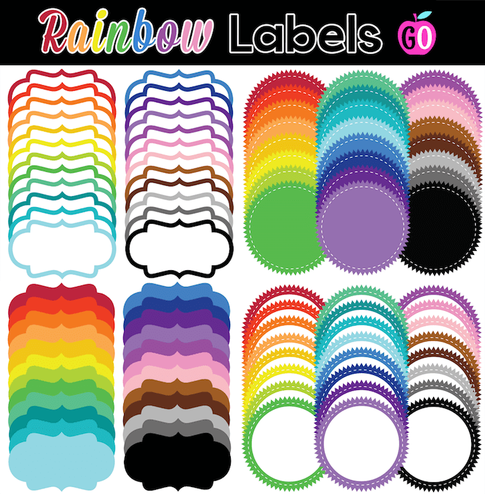 A beautiful set of rainbow colored labels. Two styles and lots of colors!