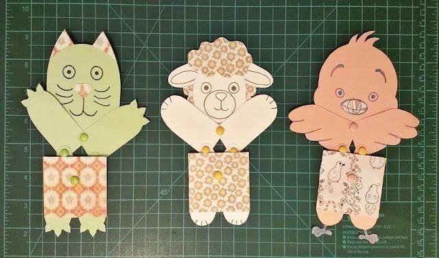 juguetes de papel articulados - gato, oveja y pollo