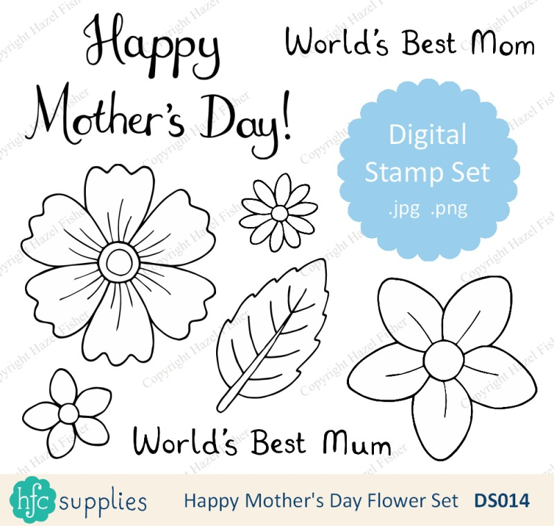 Mothers Day digital stamp set on hfcSupplies Etsy by hazelfishercreations