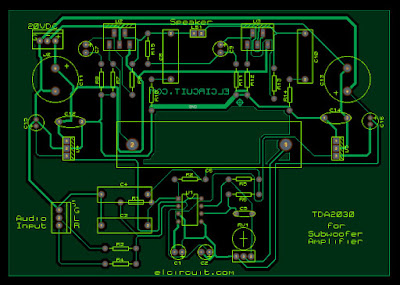 Layout PCB Subwoofer amplifier TDA2030 and 4558
