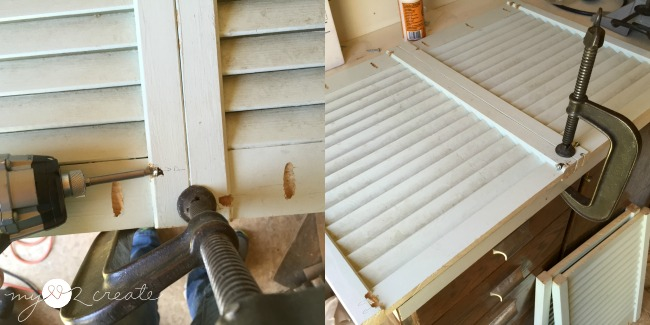 attaching shutters together with pocket holes