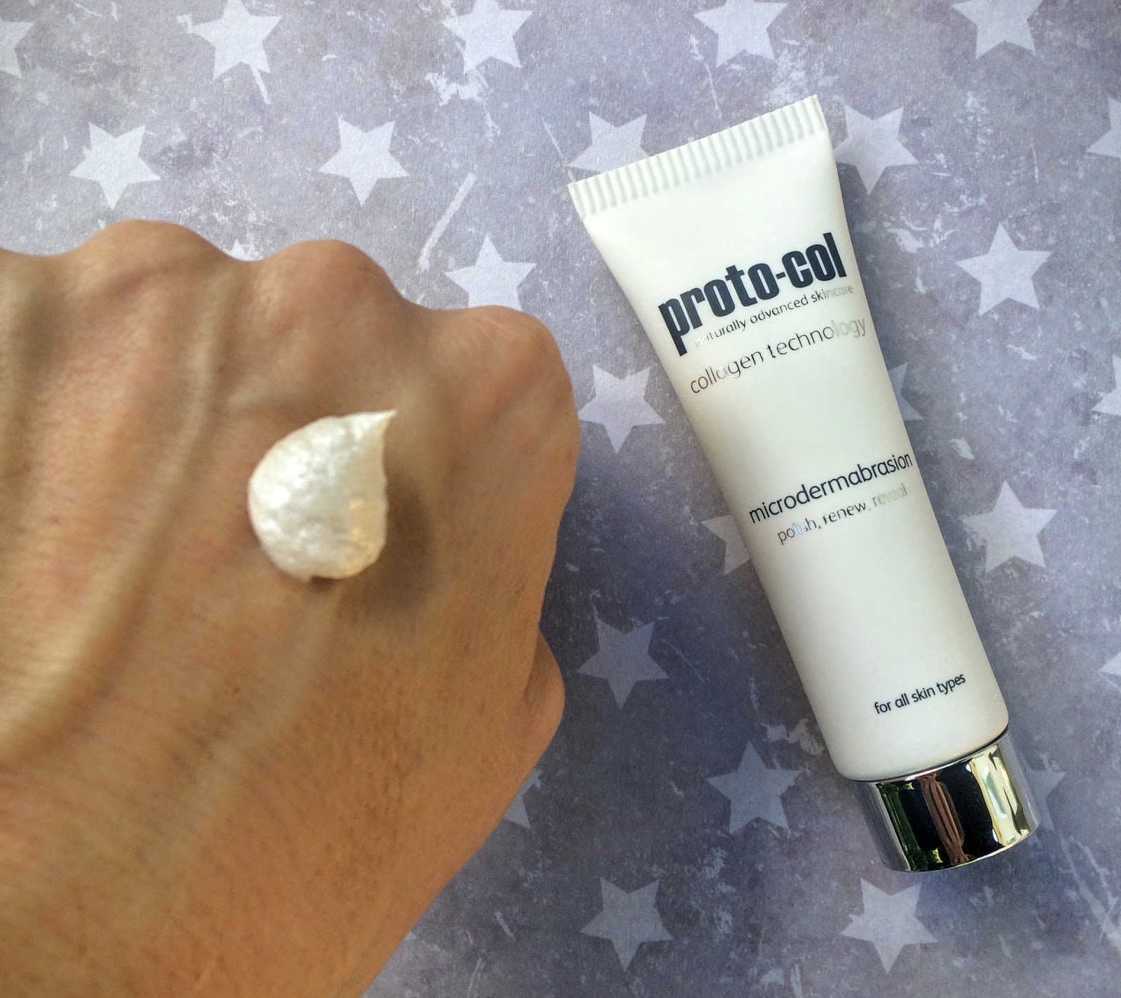 proto-col microdermabrasion on back of hand
