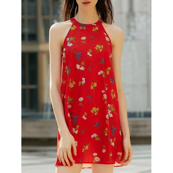 Vestido vermelho com Estampa Floral