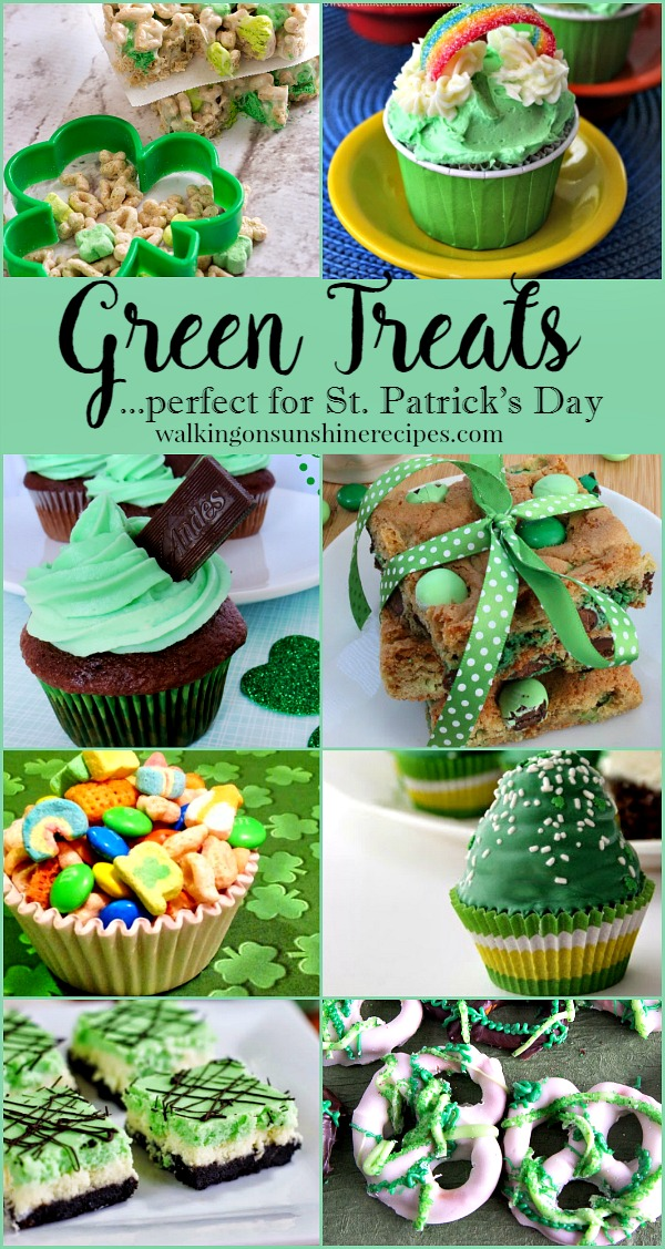 Delicious treats that are all green to help you celebrate St. Patrick's Day featured on Walking on sunshine.