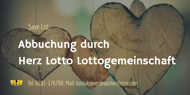 "Beitragsbild: Abbuchung durch ""Herz Lotto Lottogemeinschaft"", Save Ltd."