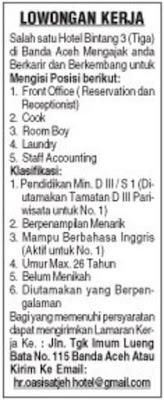 Loker Hotel Bintang 3 di Banda Aceh