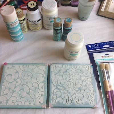 Judikins stencil floral art painting Stefanie Girard