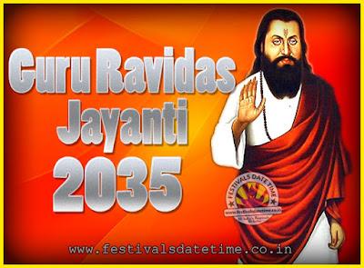 2035 Guru Ravidas Jayanti Date & Time, 2035 Ravidas Jayanti Calendar