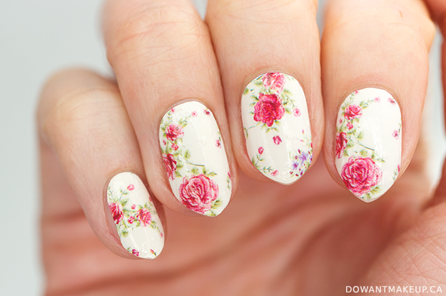Born Pretty vintage rose floral nail wraps