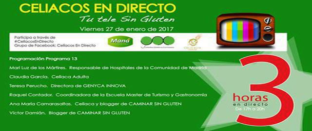 ESCALETA PROGRAMA 13 DE CELIACOS EN DIRECTO