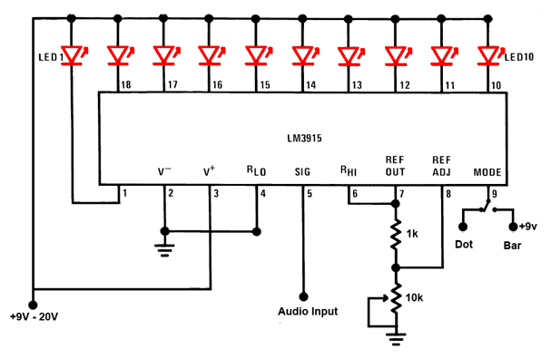 led wiring diagram 9v electric brake sound level display circuit by using ic lm3915 circuitstune audio