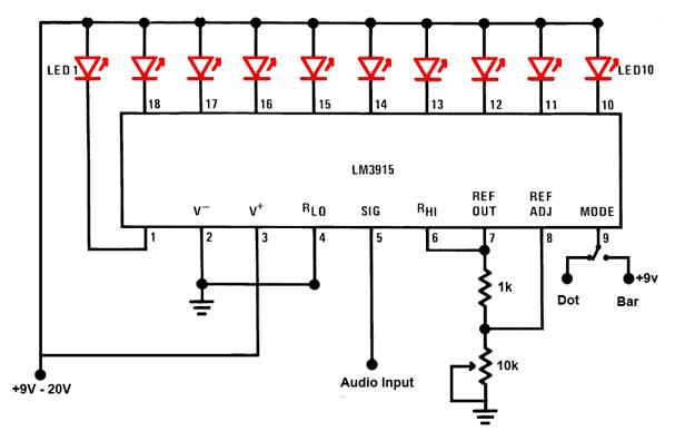 led audio level meter circuit