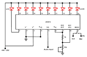LED Sound level display circuit by using IC LM3915