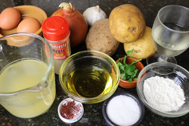 Ingredientes para patatas a la importancia