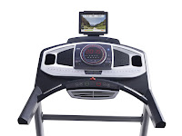 ProForm Power 995i's console, with LED display, 30 workout programs, Bluetooth & iFit enabled, sound system compatible with iPod/MP3, cooling fan, tablet holder, dual water bottle holders