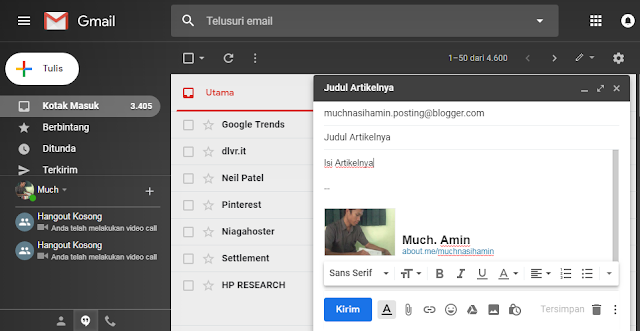 Gambar cara mengirim email untuk posting artikel