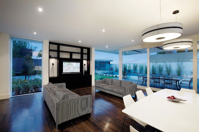 Modern living room with terrace exits