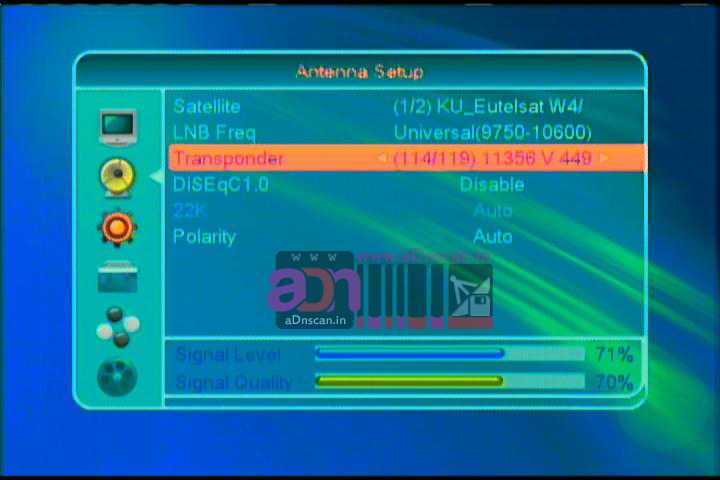 449) 13 Malayalam and Tamil Channels On Eutelsat 70B at 70 5°East