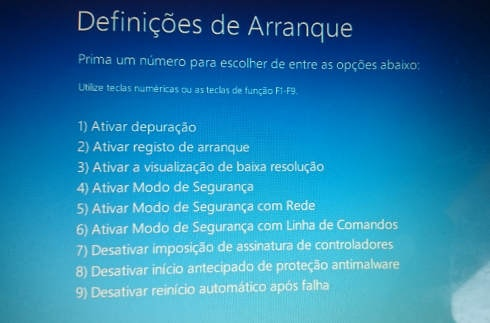 opcoes de arranque do windows 10